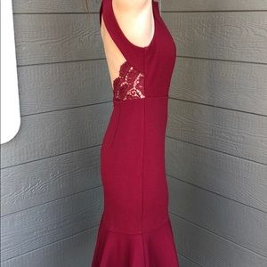 Aakaa Burgundy Flutter Midi Dress